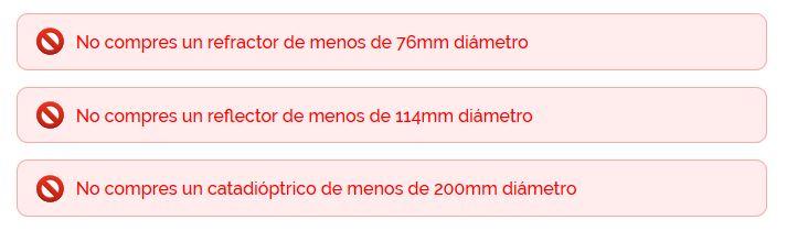 tamaños mínimos aconsejados de telescopios