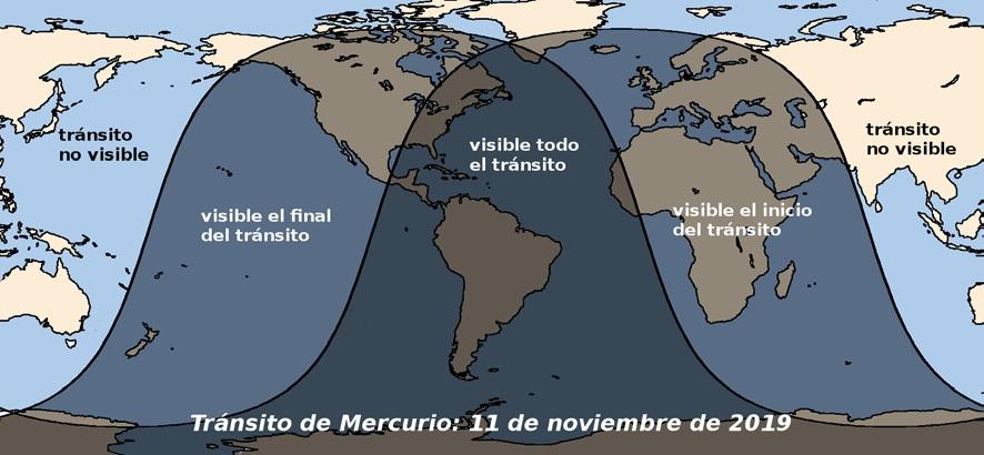 desde donde se puede ver el transito de mercurio de 2019